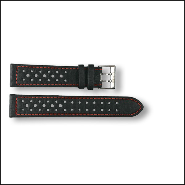Leather strap Rallye - black with red stitching - 20mm