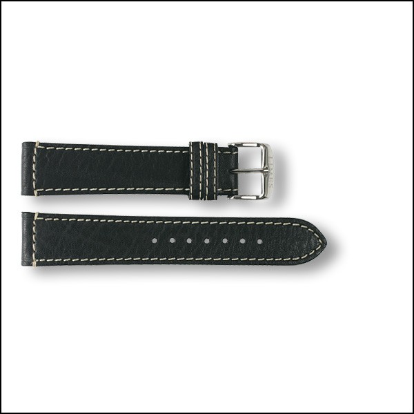 Leather strap Aviator - black - 20mm
