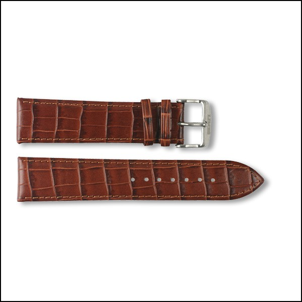 Leather strap Chyros - Croco Design - brown - 22mm