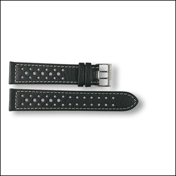 Leather strap Rallye - black with white stitching - 20mm