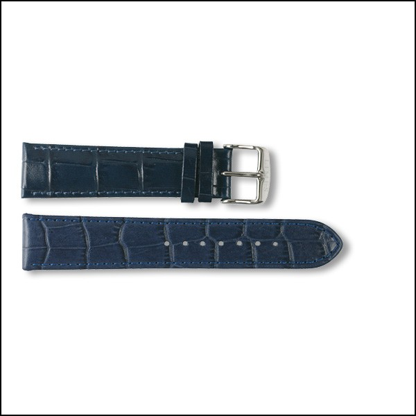 Leather strap Pharo - Croco Design - blue - 20mm