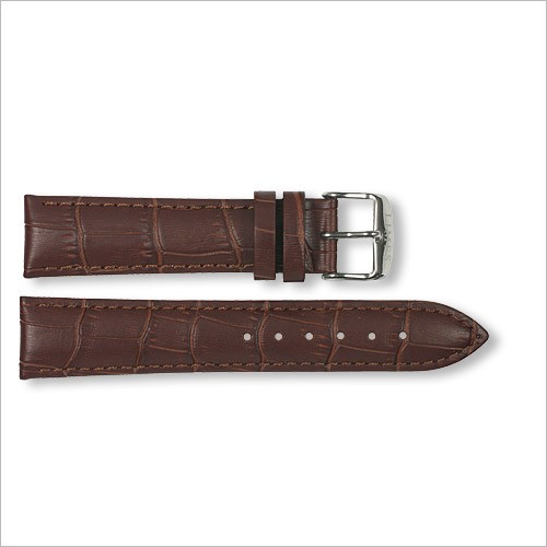 Leather strap - Croco-Design - brown - 20mm